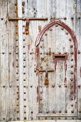antique door in morocco africa rusty brown