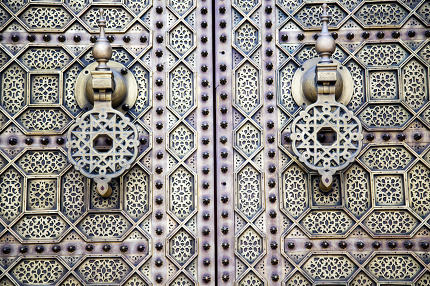 brown  morocco in africa  facade home and rusty safe padlock