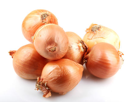 Fresh onion bulbs isolated on white background