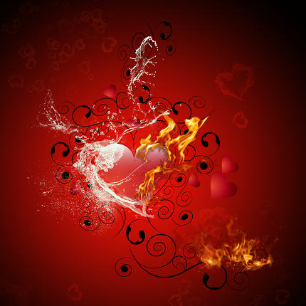 Heart with flame and water splash