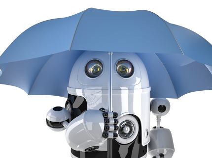 Robot with umbrella. Technology concept. Contains clipping path