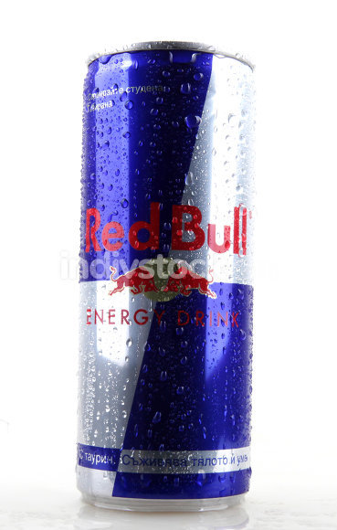 2014 soft drink Red Bull bottle can isolated