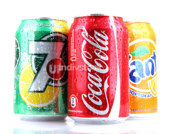 BULGARIA - MARCH 14, 2014: 7up fanta cola isolated