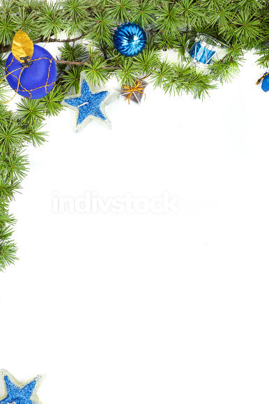 decoration with green pine or fir and blue round ornaments and g