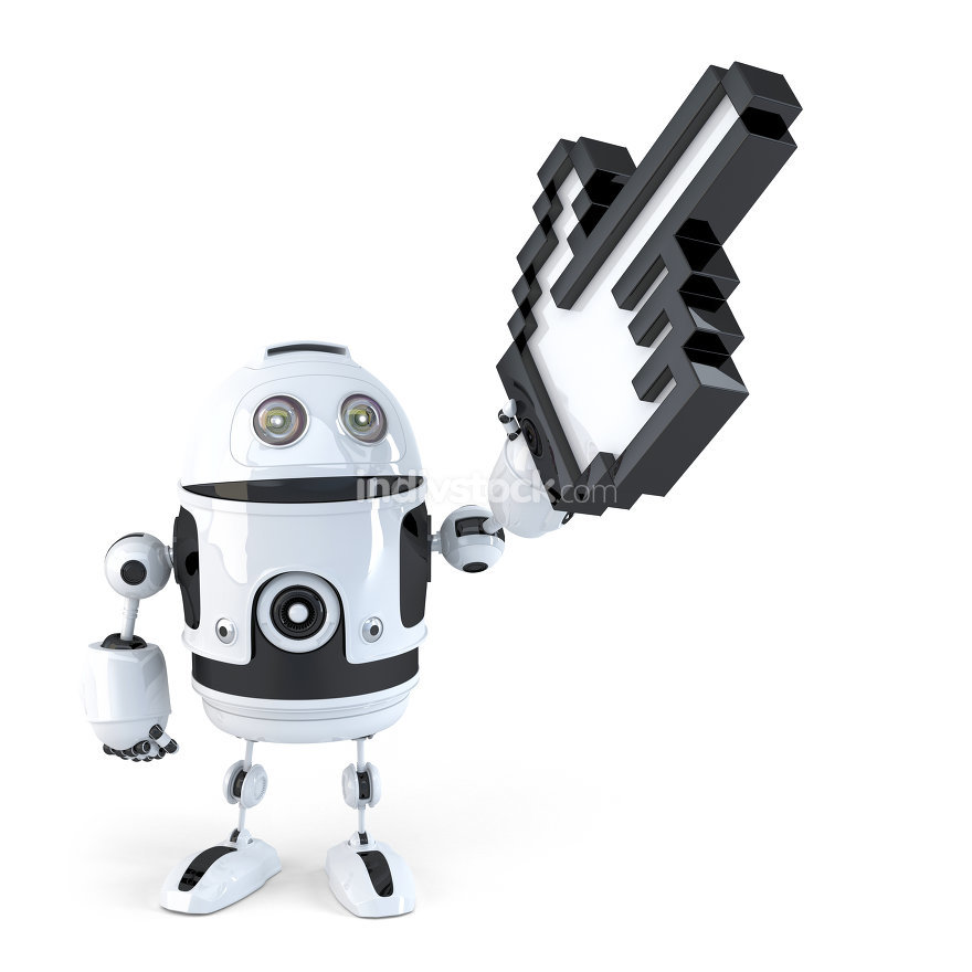 Robot pointing with huge cursor. Isolated. Contains clipping path
