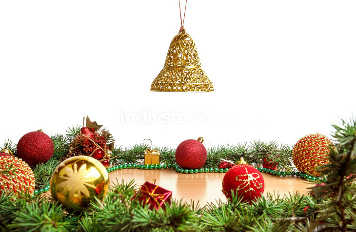 Wonderful Christmas decoration with fir tree , golden bell in ai
