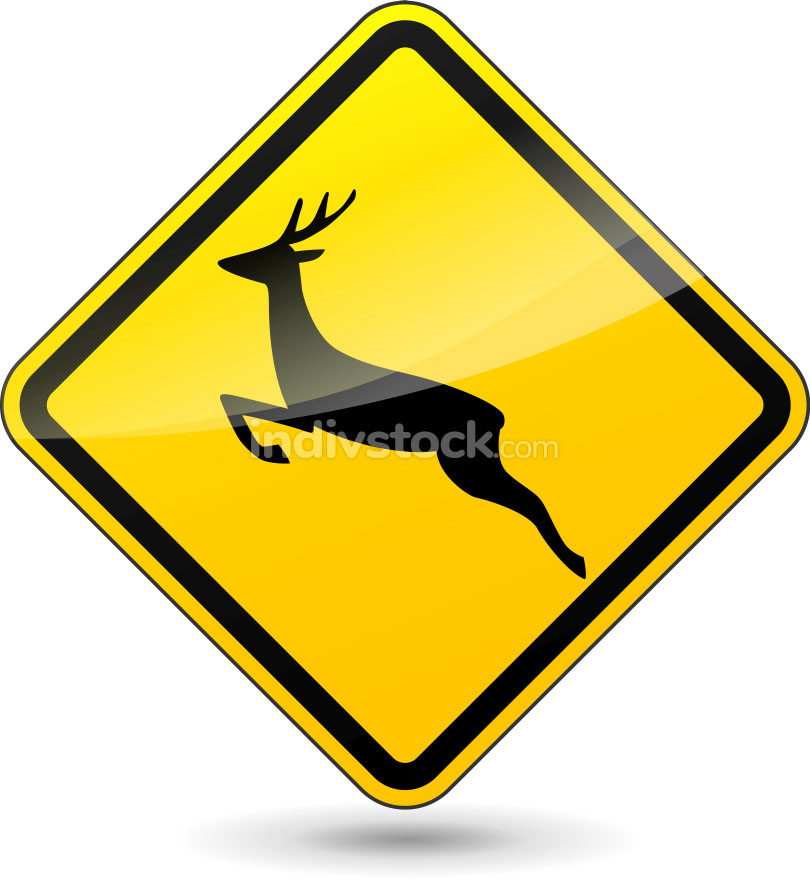 Vector deer yellow sign