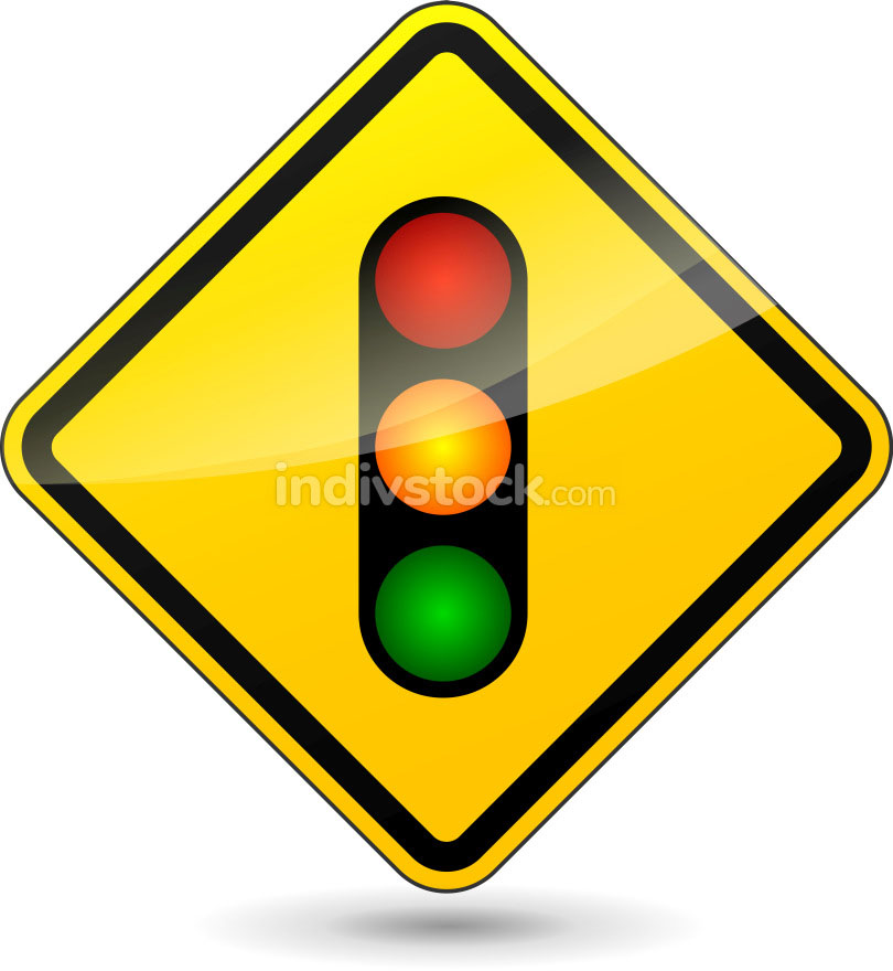 Vector traffic lights yellow sign