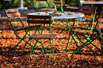 Beer garden in fall