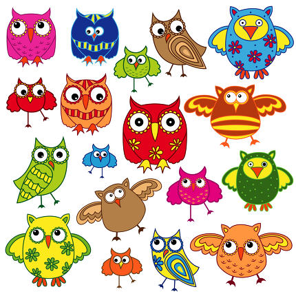 Set of eighty colourful owls