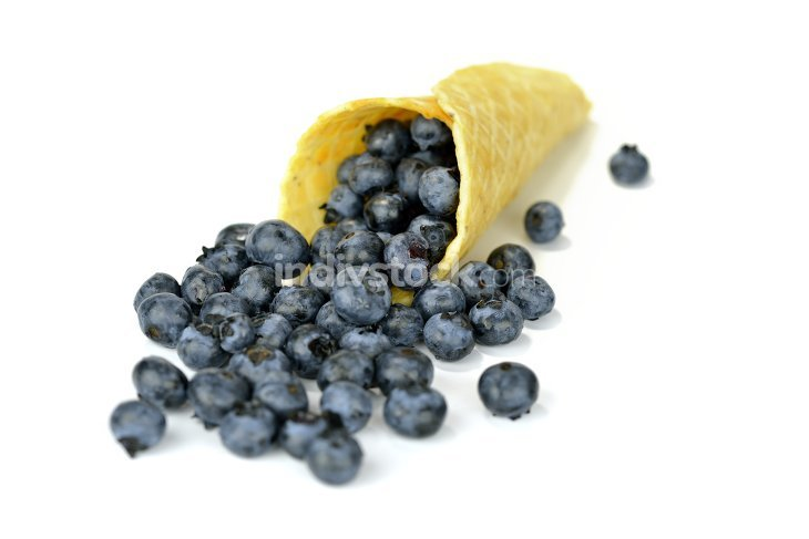 Blueberries in the waffle