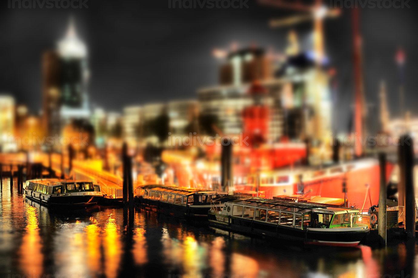 Hamburg Harbour at night