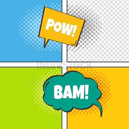 comic template element with speech bubble halftone art