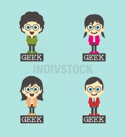 geek cartoon character set