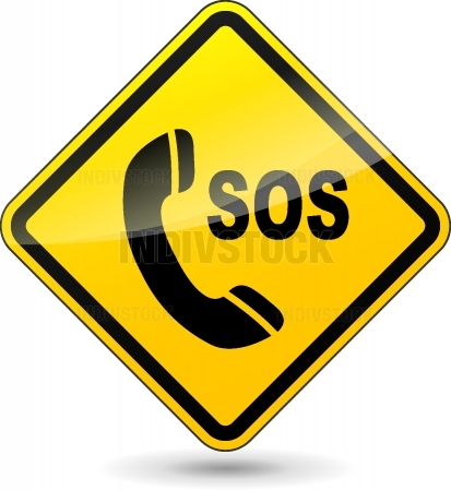 Vector sos phone diamond sign