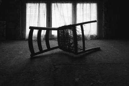 a chair in the attic
