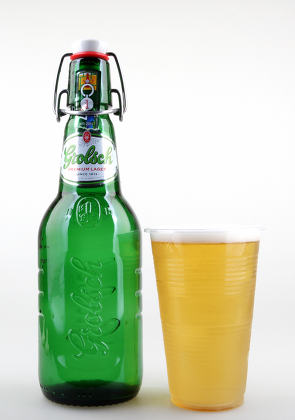 Classic bottle of Grolsch Premium Lager Beer isolated