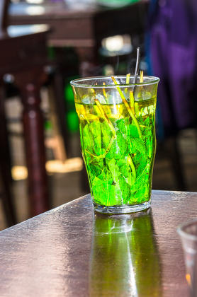 Glass with mint tea