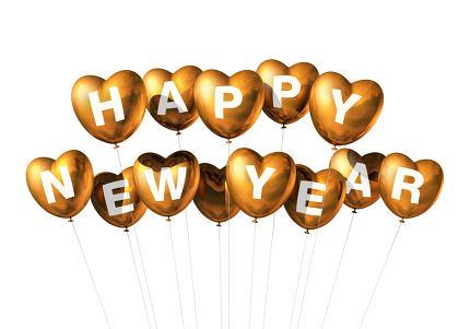 gold happy new year heart shaped balloons