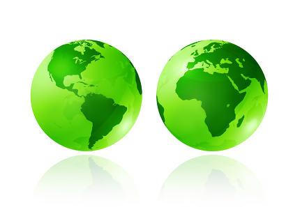 green transparent globes