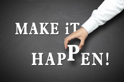 Hand holding make it happen concept