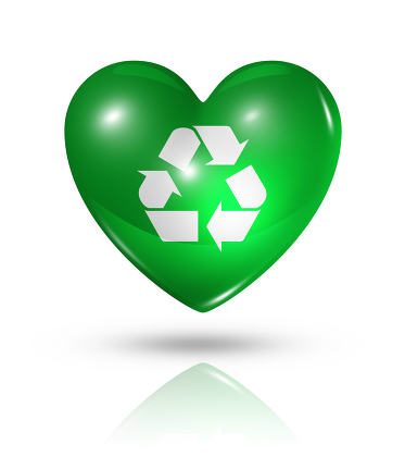 Love recycling symbol, heart flag icon