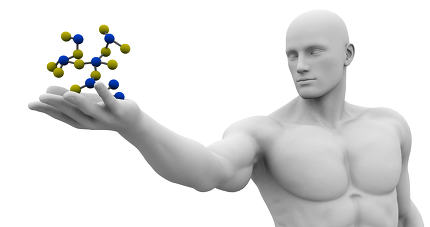 Man Observing Molecule Structure