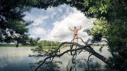 muscular man lake