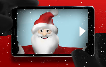 Santa Claus Browsing Selfie Photos point of view mobile phone