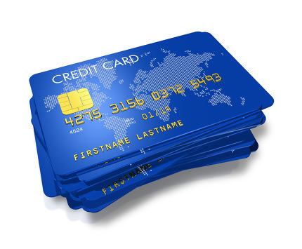 stack of blue credit cards