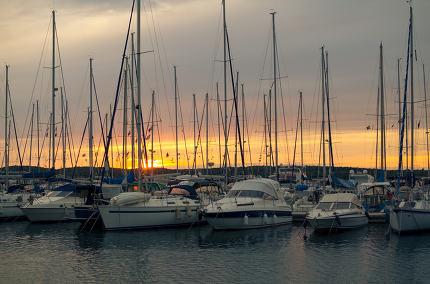 Sunset with Sailboats Horizontal