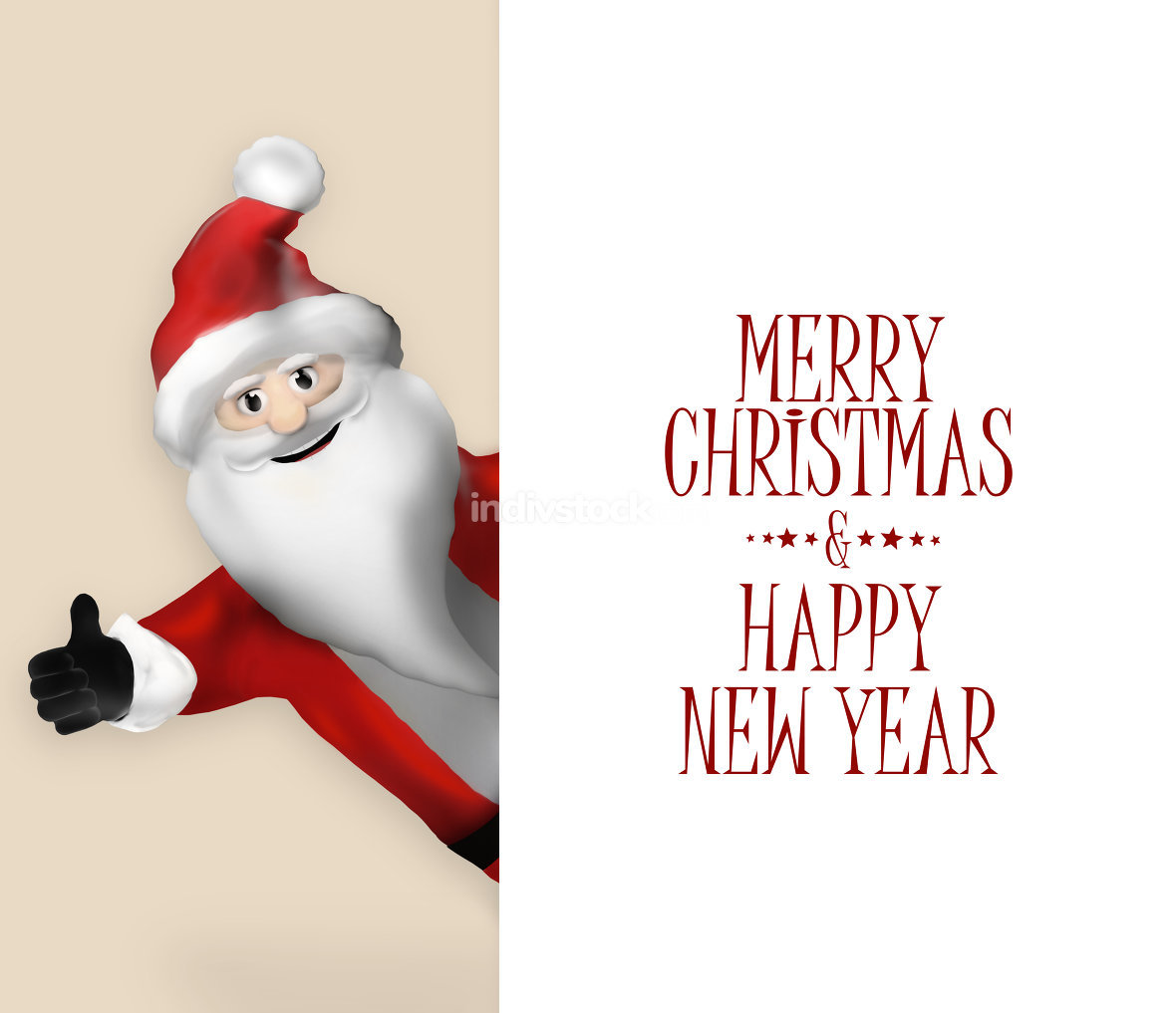 3D Realistic Santa Claus Cartoon Character pointing to banner