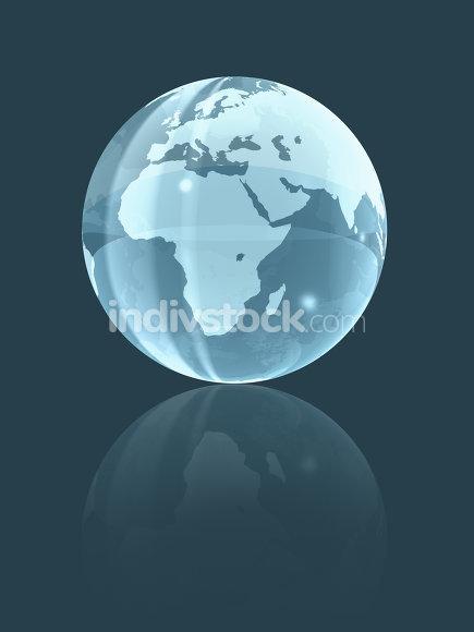 3D world glass globe