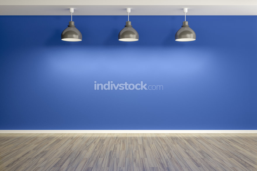 An image of an empty blue room with three lamps