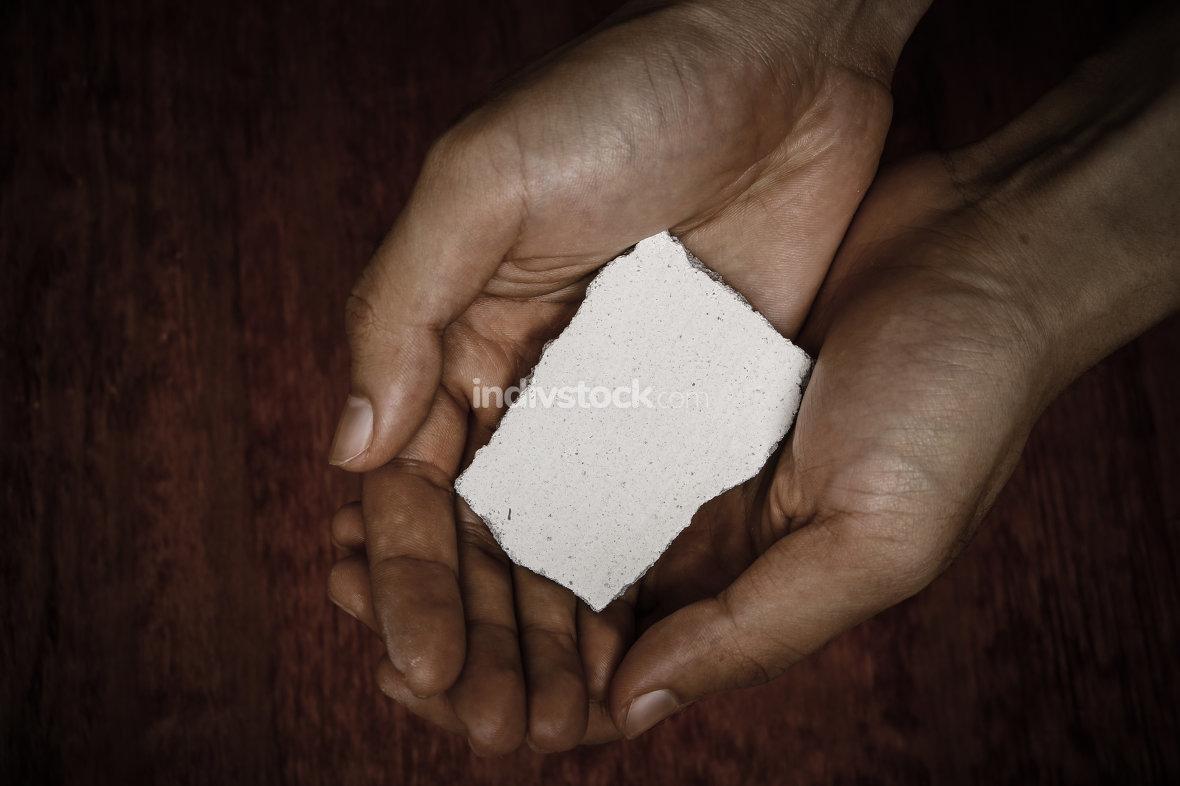 Blank Stone Block In Hands