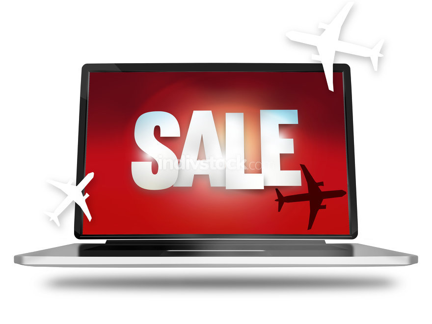 Bold Sale silhouette planes red laptop screen