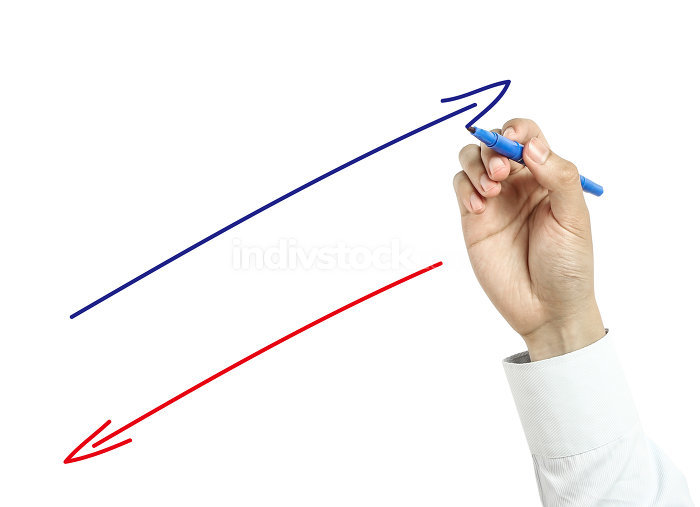 Businessman drawing positive and negative arrows concept
