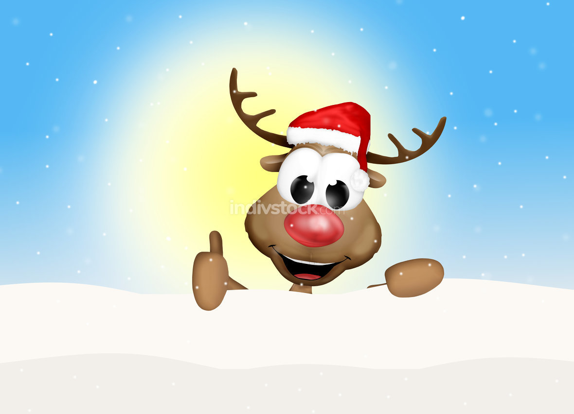 Christmas Thumbs Up Reindeer Sunny Day Background