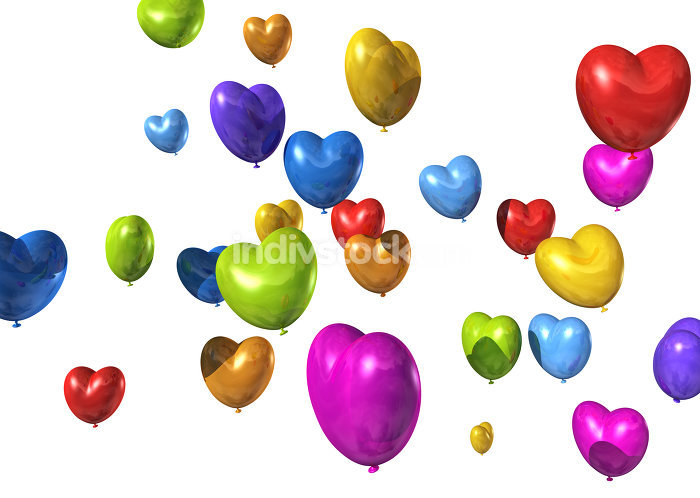 colored heart shaped balloons isolated on white