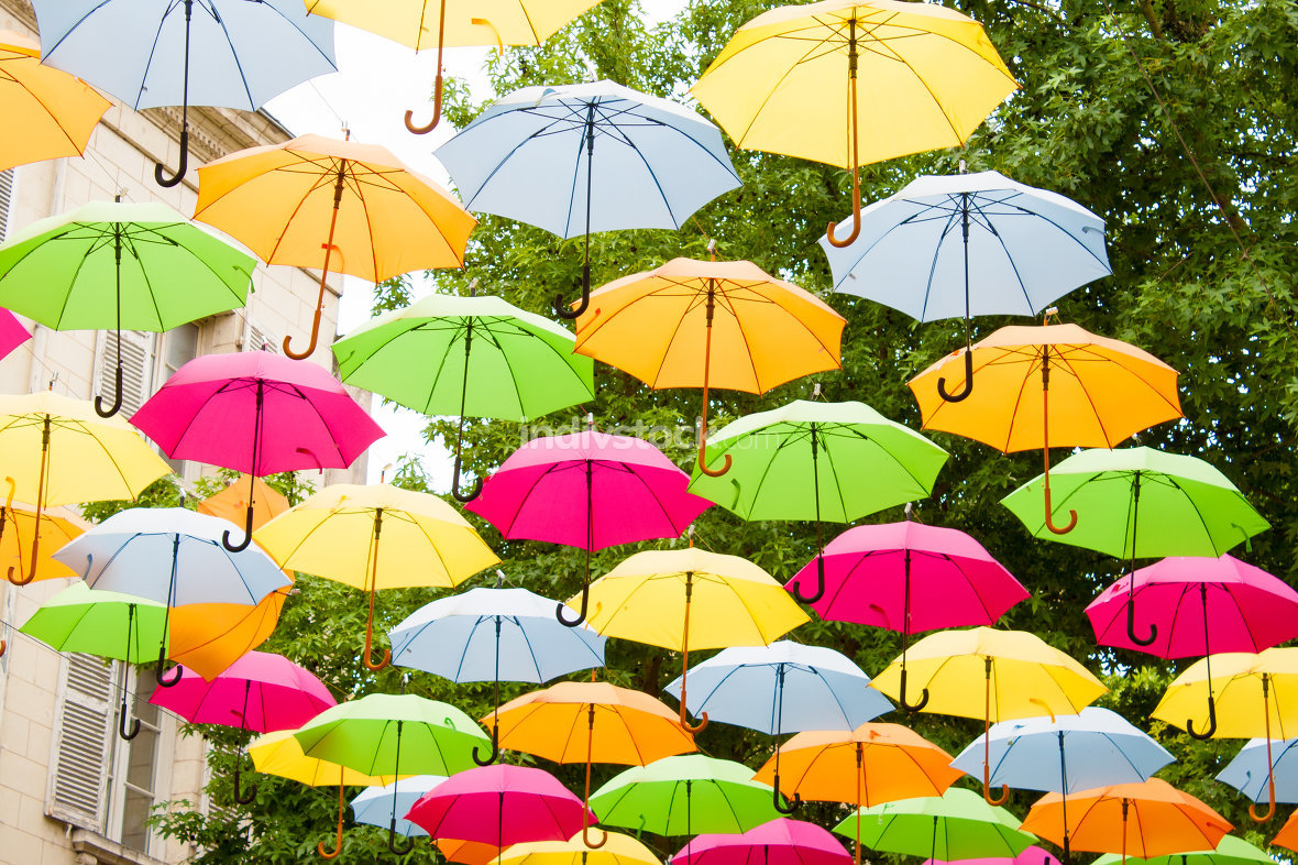 colorful umbrellas hanging in the air