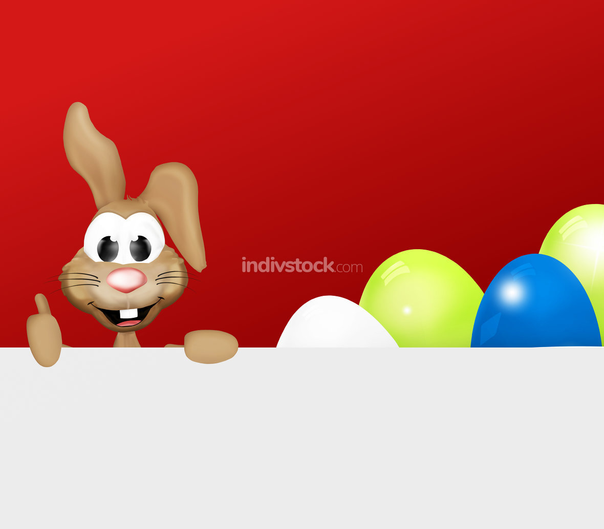 Festive happy Easter Bunny thumbs up