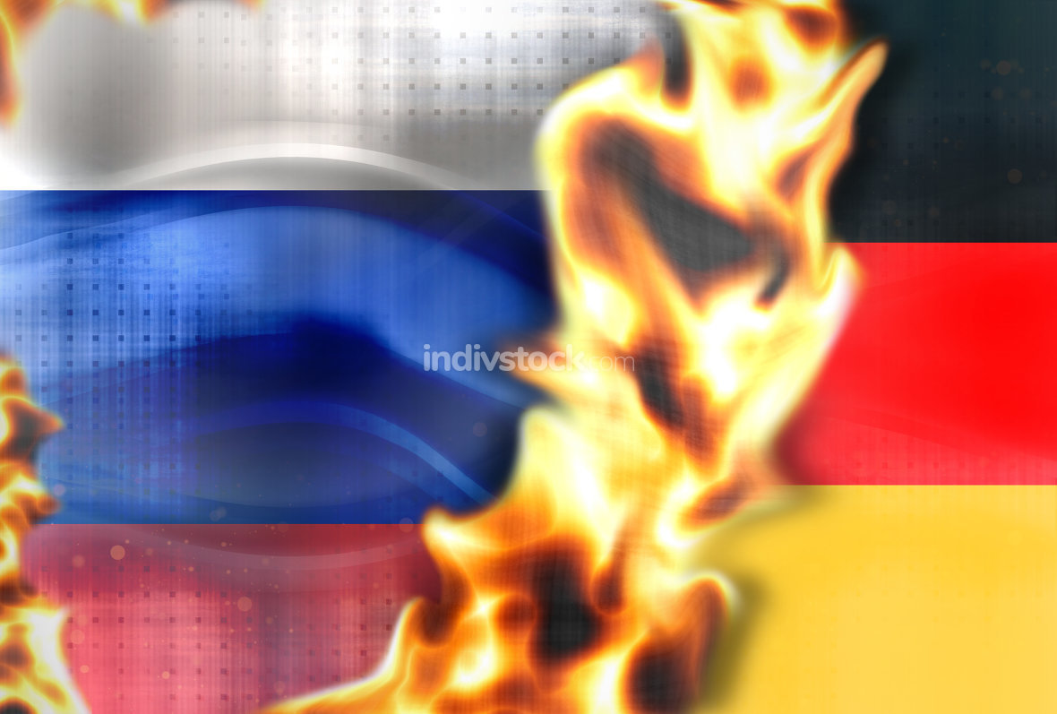 Fire Russia germany flags background