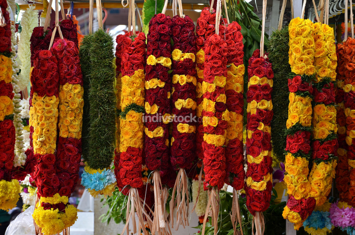 Flower garlands and basket of flower used for hinduism religion