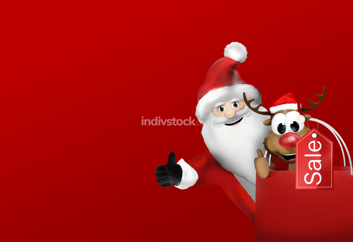 free download: Santa and Reindeer Shopping Bag Sale