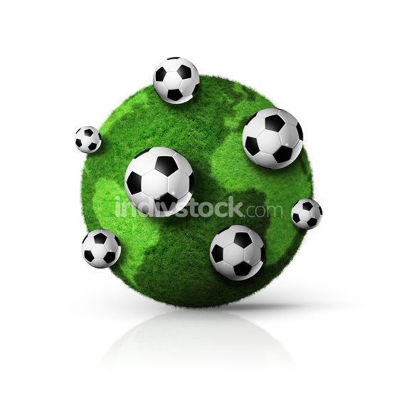green grass world globe with soccer balls