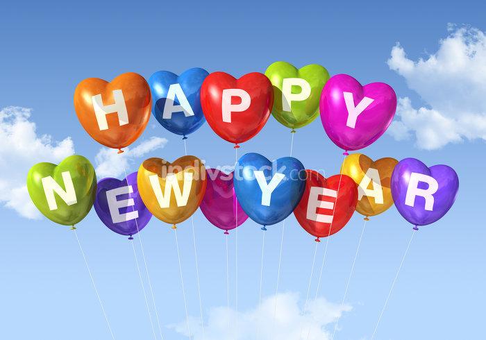 happy new year heart shaped balloons