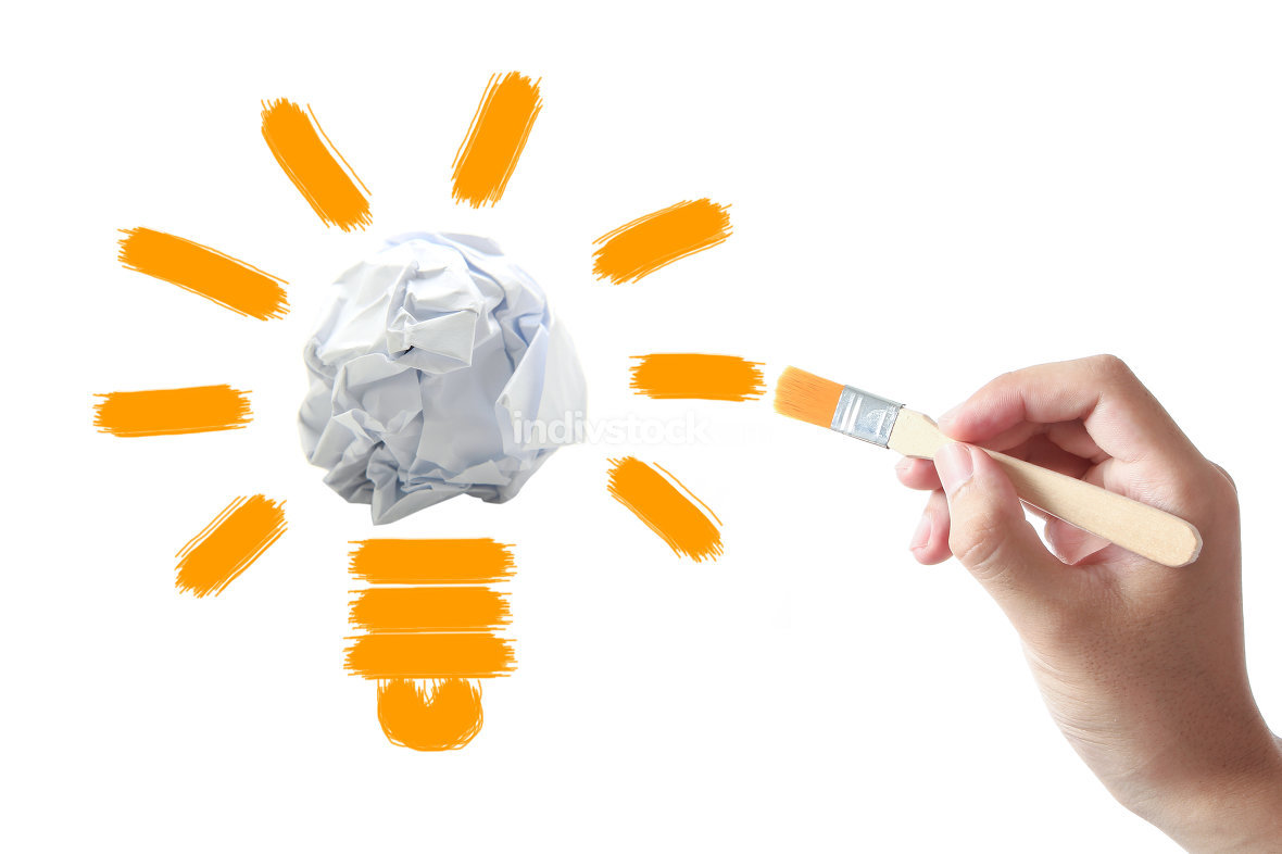 Light bulb with crumpled paper ball