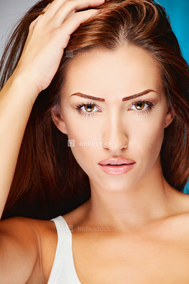 Long hair brunette woman