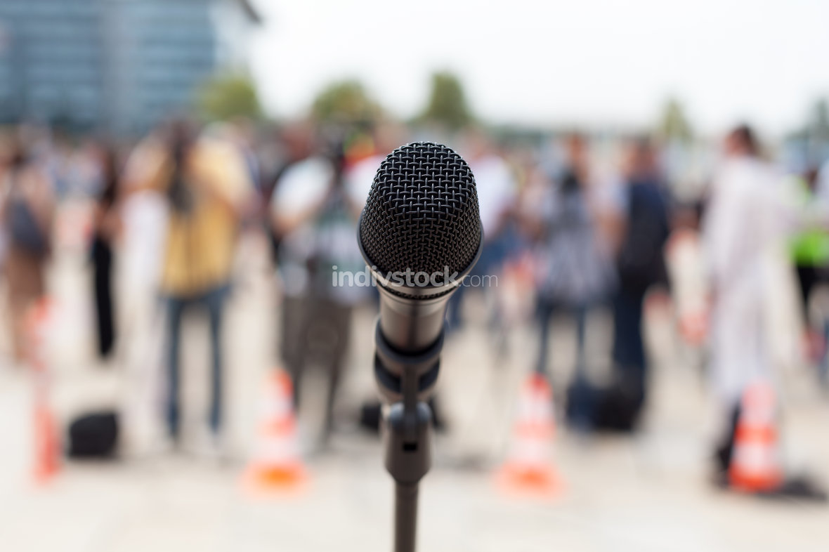 microphone. news conference.