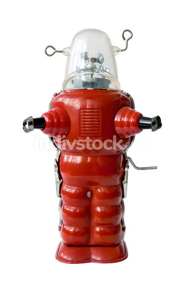 Old red metal robot